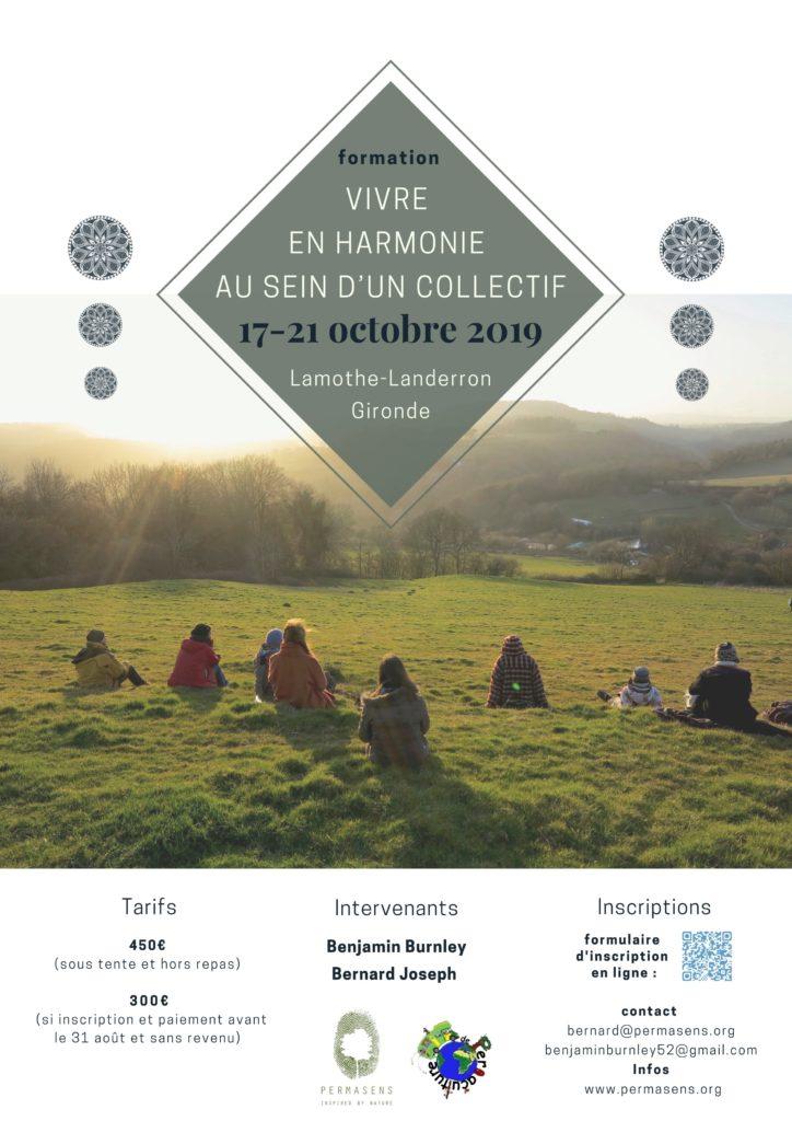 Formation Vivre en harmonie au sein d'un collectif, 17-21 octobre 2019, Lamothe-Landerron Gironde @ La Grange
