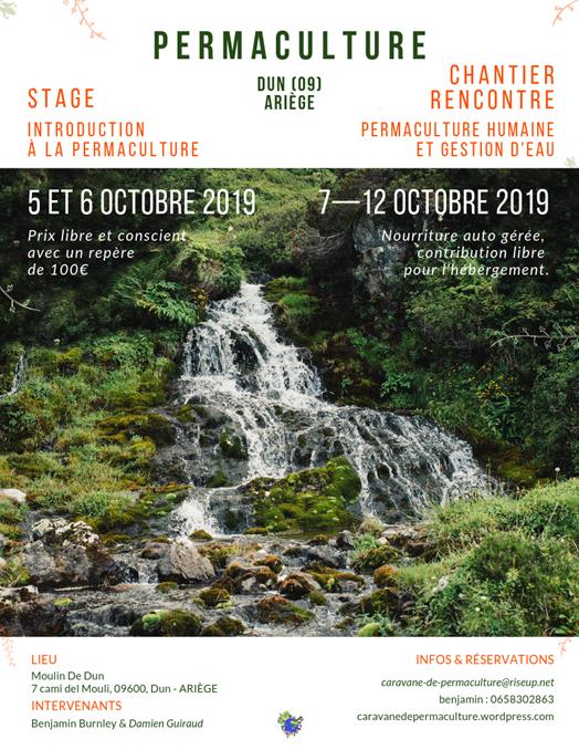 Introduction à la permaculture et gestion de l'eau, Dun, Ariège @ Moulin de Dun
