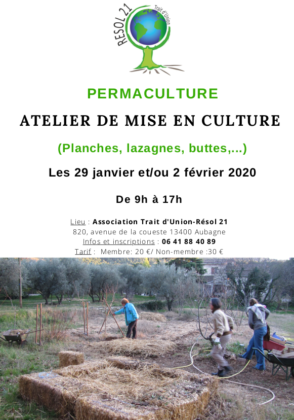 Atelier de mise en culture @ Association Trait d'Union-Résol 21