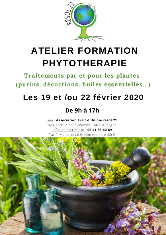Atelier phytothérapie @ Association Trait d'Union-Résol 21