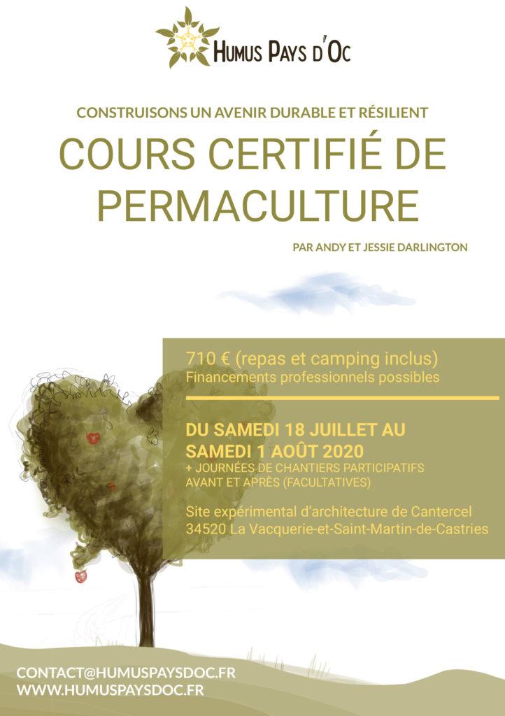 Cours Certifié de Design en Permaculture par Andy et Jessie Darlington @ Site expérimental d'architecture de Cantercel
